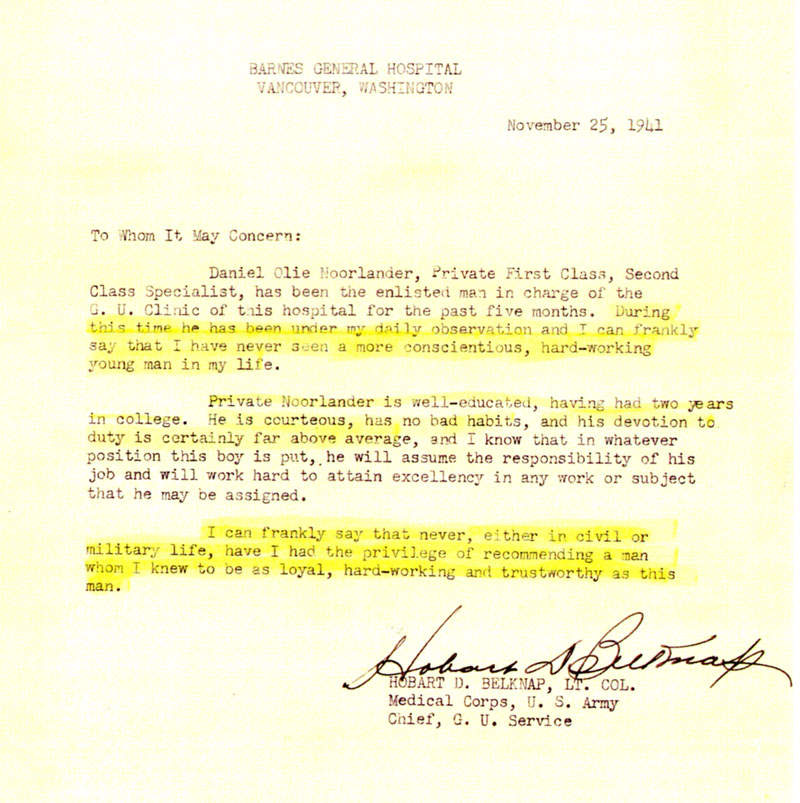Colonel Belknap's letter of recommendation