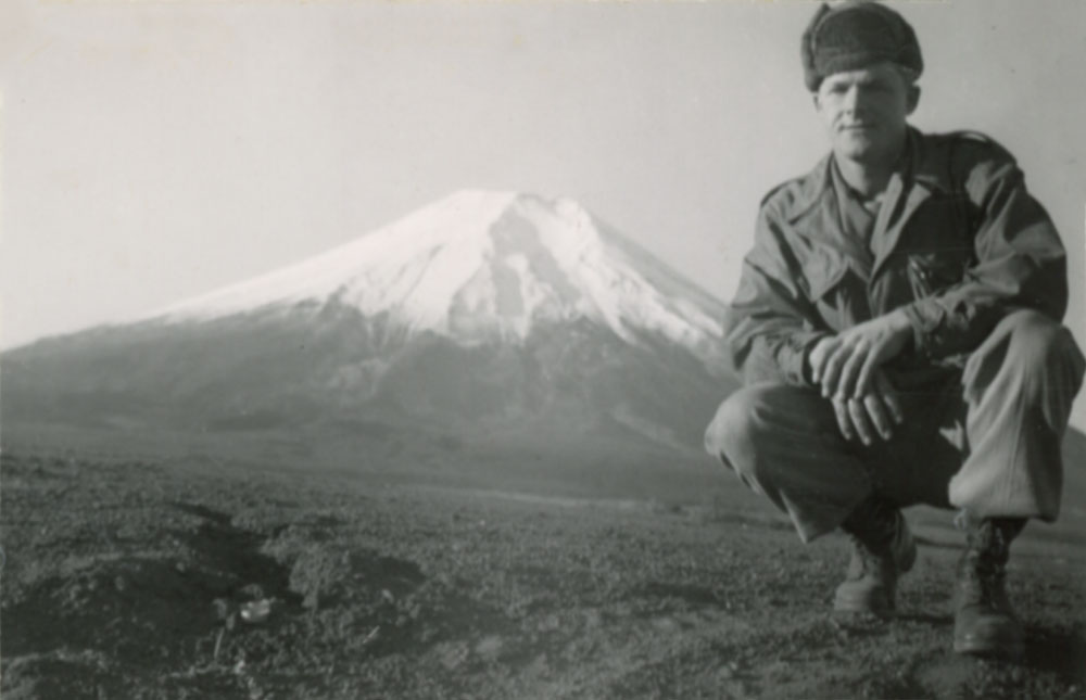 Lt. Dan Noorlander with Mt. Fugi in the background